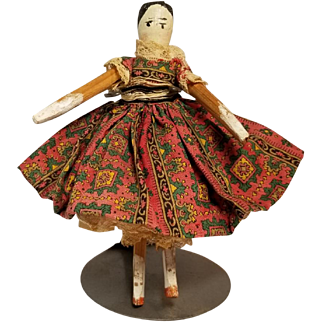 Sweet Early Grodnertal Doll with Original Clothing