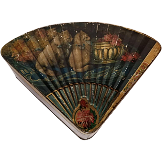 Early French Tin Lithograph Cat Candy Container