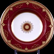 12 Antique Minton Medallion Garnet Red Soup Bowls