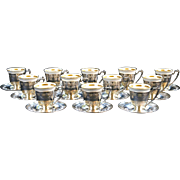 12 Sterling Silver Demitasse Cups with Saucers