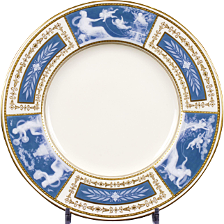 8 Minton Pate-sur-Pate Blue Plates for Tiffany, by artist Albion Birks