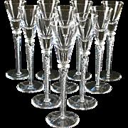 10 Crystal Air Twist Stem Tall Cordial Glasses