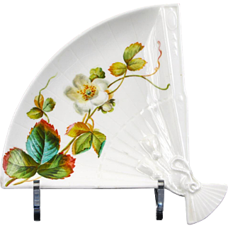 12 Antique Brownfield, England Hand-Painted Fan Shaped Side or Appetizer Plates - Aesthetic Movement