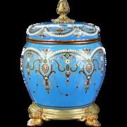 English Adam-Style Jeweled Celeste Blue Urn
