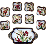 Antique Doulton Burslem Hand-Painted Dessert Set