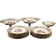 14-Piece Hand Painted Reticulated Dresden Dessert Service
