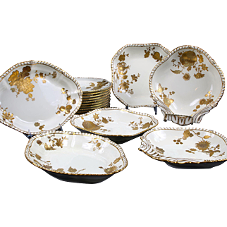 Antique Derby Gilded Service: 18 Pieces
