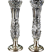 Pair of Hawkes Cut Crystal Vases with Sterling Silver Bases