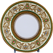 12 Floral and Gilded Hand-Painted Charles Ahrenfeldt, Limoges Plates - artist signed