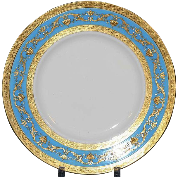 12 Minton for Tiffany Turquoise Dinner or Service Plates  Gilded Age Dining | Ruby Lane  sc 1 st  Ruby Lane & 12 Minton for Tiffany Turquoise Dinner or Service Plates : Gilded ...