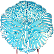 Antique Minton Majolica Turquoise Butterfly Plate