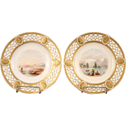 Pair of Antique Minton Cabinet Plates, hand-painted