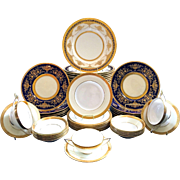 Assembled Set of Minton for Tiffany Cobalt Blue and Gold Plates, 59 pieces