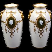 Pair of Minton Pate-sur-Pate Vases