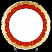 12 Antique Minton Gold Encrusted Red Dessert or Salad Plates