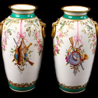 Pair of Minton Trophy Vases