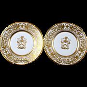 Vintage Pair Dreseden Gilded Armorial Plates