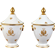 Pair of French Napoleon Bee Urns, Limoges