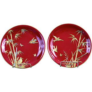 Pair Antique Red Minton Aesthetic Movement Cabinet Plates, Japonesque style