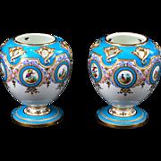 Pair of Minton Turquoise Vases