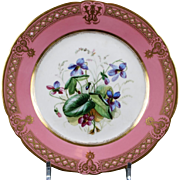 19th Century Staffordshire Rose Pompadour Botanical Dessert Service, hand-painted, 21 pieces