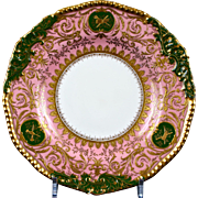 12 Coalport Pink and Green Heavily Gilded Plates