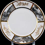 14 Antique Limoges Grisaille Plates: G. Demartine & Cie.