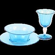 Steuben Blue Celeste Wine Set