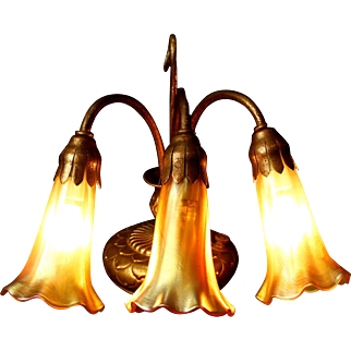 Tiffany Studios 3-Light Lily Piano Lamp