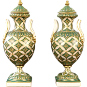 Pair of French Sevres Style Porcelain Green and Gold Urns