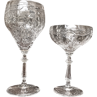 "Vintage Set of 24 Hawkes ""Rock Crystal"" Glasses: 12 Water and 12 Wine"