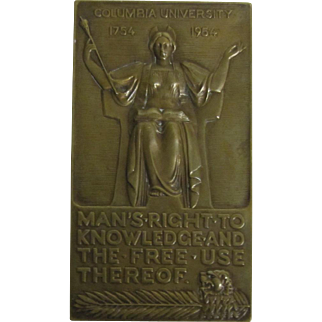 1954 Columbia University Bicentennial Year Bronze Plaque