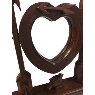 Folk Art Walnut Heart, Bird and Arrow Mirror