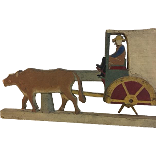 Unusual Folk Art Whirligig Oxen Wagon with Man