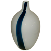 Mid-Century Retro Danish Modern Era Hand Blown Art Glass Vase - Cased Glass - Clear cased to white with Single Cased Deep Blue Stripe
