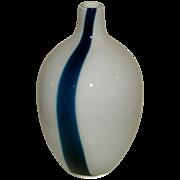 Mid-Century Retro Danish Modern Era Hand Blown Art Glass Vase - Cased Glass - Clear cased to white with Single Cased Deep Blue Stripe