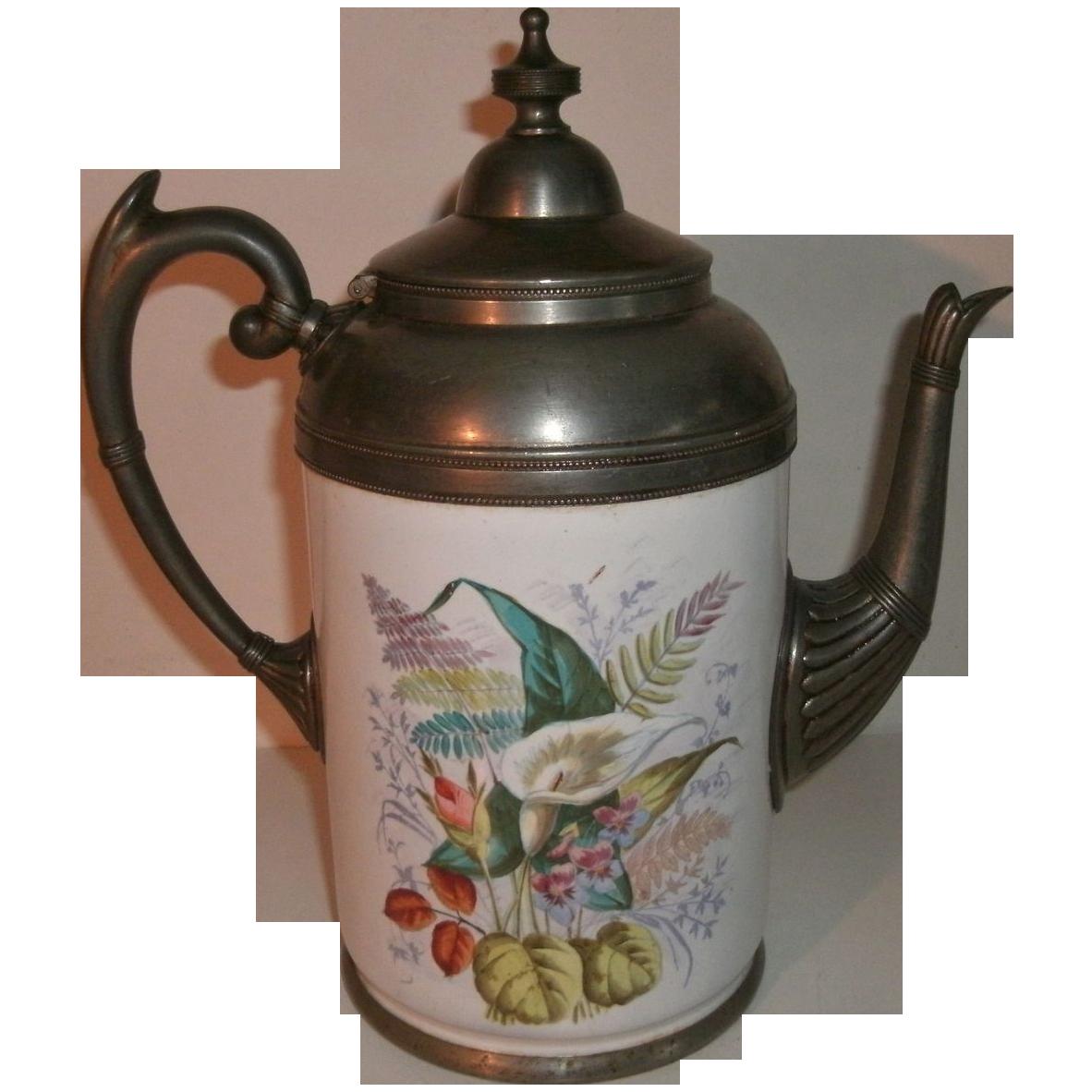 Beautiful 19th Century Victorian Graniteware / enamelware & Pewter (Silverplate) Gooseneck Coffee Pot / Tea Pot with Ornate Floral Spray Decoration