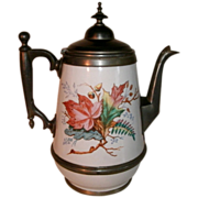 Beautiful 19th Century Victorian Graniteware / enamelware & Pewter Gooseneck Coffee Pot Tea Pot with Ornate Oak, Acorn, Fern, Floral Decoration