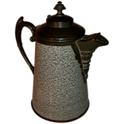 Unusual 19th Century Victorian Green & White Mottled Graniteware / enamelware & Pewter (Silverplate) Coffee Pot Tea Pot