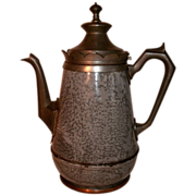 19th Century Victorian Mottled Gray Graniteware / enamelware & Pewter (Silverplate) Gooseneck Coffee Pot Tea Pot