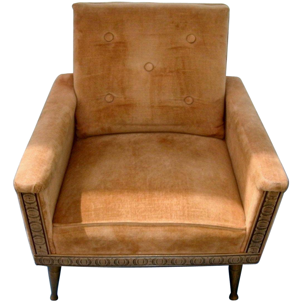 Vintage upholstered chair - Vintage Mid Century Modern Danish Modern Upholstered Arm Chair W Tufted Back Original Upholstery