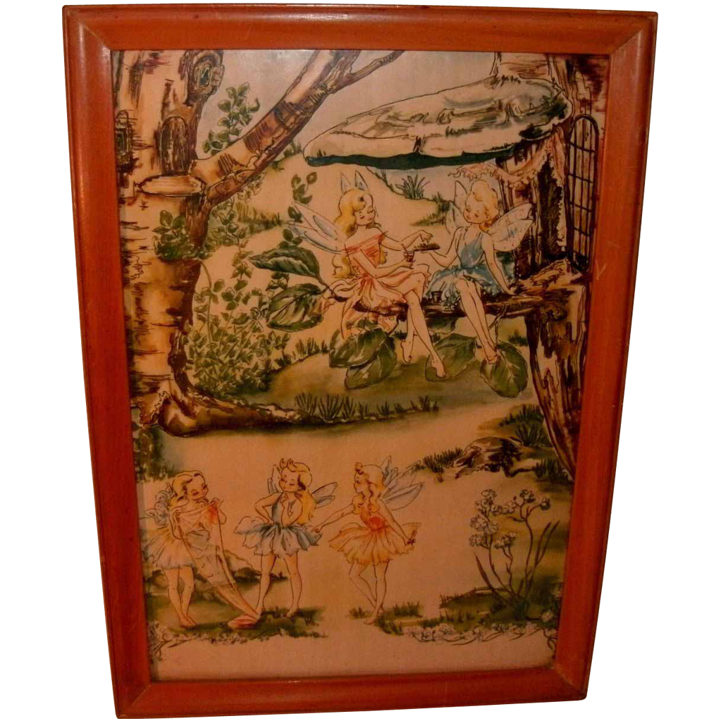 "Vintage Colored Print of ""Fairies (Tinker Bell) In The Woods"" - Tree Houses"