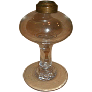 "19th Century Hand Blown Glass Oil Lamp - Pedestal & Font Attached ""Glass Wafer"""