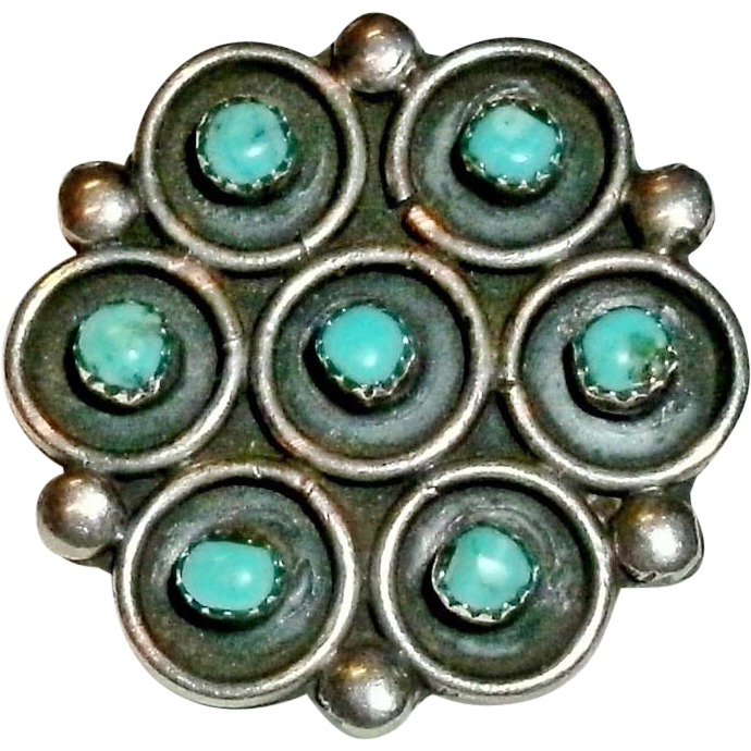 Vintage Sterling Silver and Turquoise Native American Southwest Flower Shaped Brooch / Pin - 5.2 grams