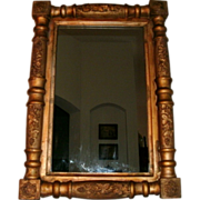 "19th Century Antique Gold Gilt Split Column Classical / Empire Mirror w/ Ornate Embossed Grapevine Decoration & Corner ""Rosettes"""