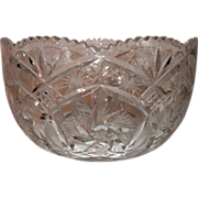 """9"""" Brilliant Period Cut Glass Bowl - Sawtooth Border, Scalloped Top, Pinwheel, Pineapple & Star Pattern - Ex. Condition"""