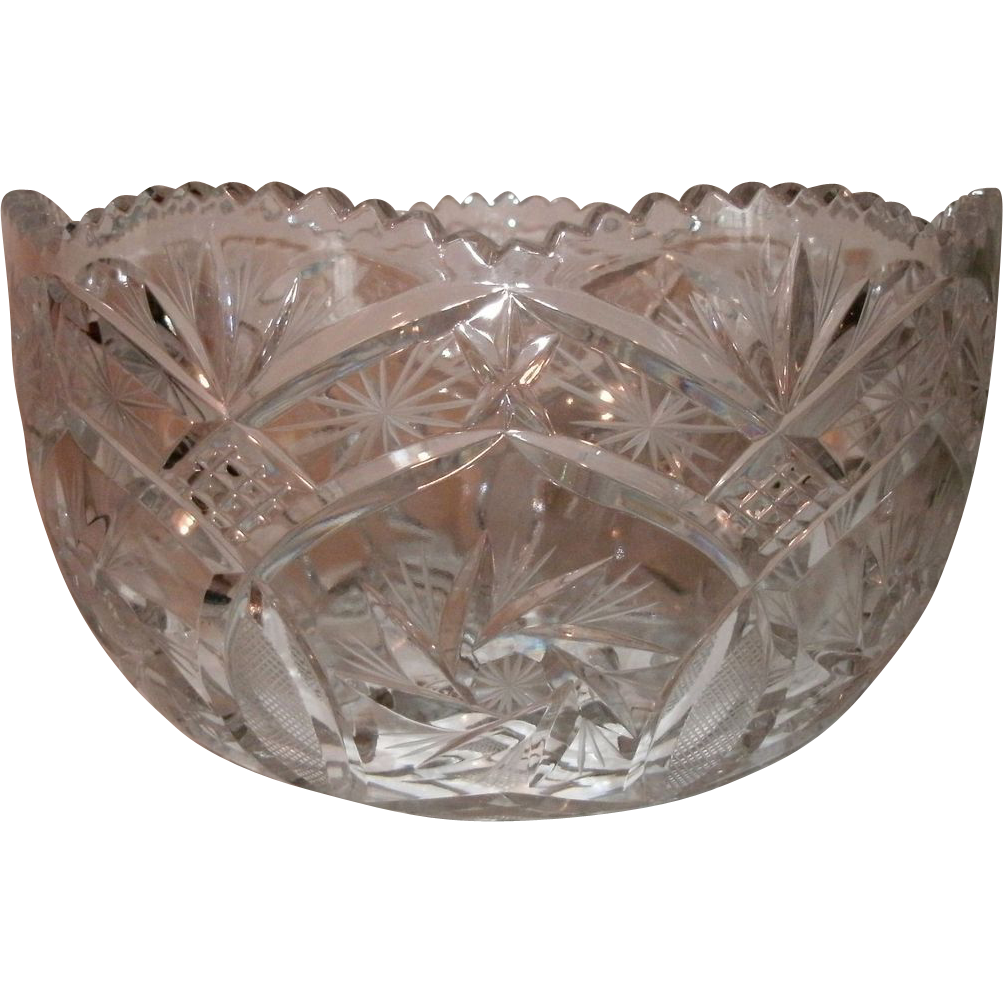 "9"" Brilliant Period Cut Glass Bowl - Sawtooth Border, Scalloped Top, Pinwheel, Pineapple & Star Pattern - Ex. Condition"