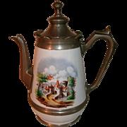 Beautiful 19th Century Victorian Graniteware / enamelware & Pewter Gooseneck Coffee Pot Tea Pot with Decorative Castle Scene on both sides