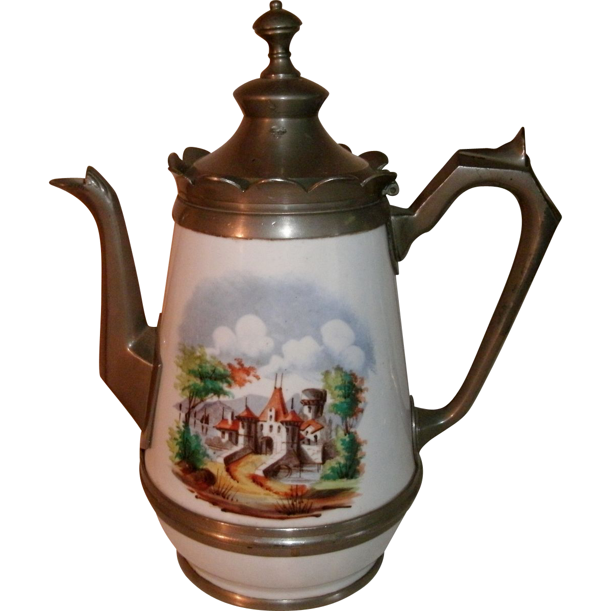 Beautiful 19th Century Victorian Graniteware / enamelware & Pewter Gooseneck Coffee Pot Tea Pot with Decorative Castle Scene on both sides