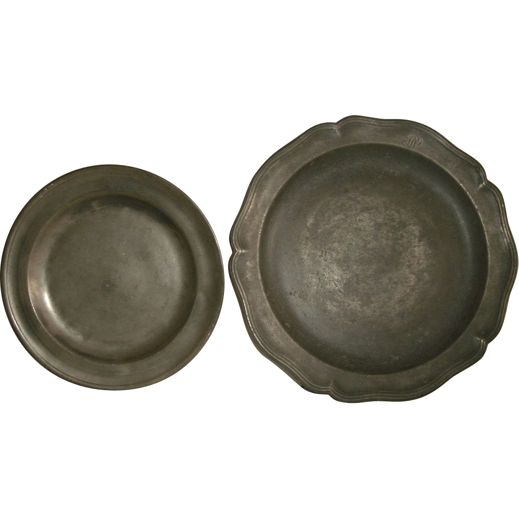 Antique Pewter Plates : Antique english pewter plate charger w scalloped border